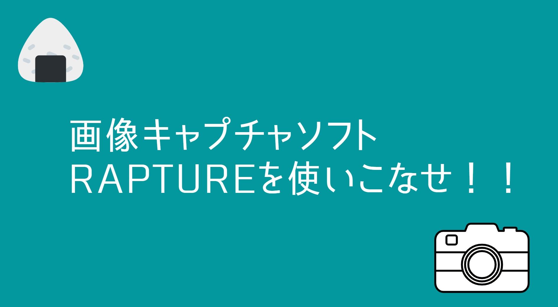画像キャプチャソフトはRaptureで決まり!使い方【おにぎり嫌い設定】